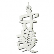 """Sterling Silver """"Protection"""" Kanji Chinese Symbol Charm"""