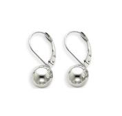 .925 Sterling Silver Lever Back Dangle Ball 10mm Earrings