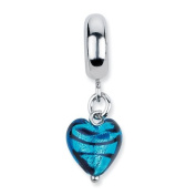 Sterling Silver s Blue Heart Stripes Ital Murano Dangle Bead by Reflection Beads