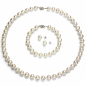 "Sterling Silver 9-10mm White Cultured Freshwater Pearl Necklace 18"" , 7"" Bracelet and Stud Earring, AAA."