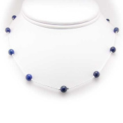Blue Lapis Stone Beads Station Illusion Sterling Silver Chain Necklace