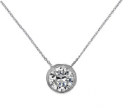 """Silver Solitaire Pendant Necklace Round 6mm CZ Bezel Set in .925 Sterling Silver 16"""" - 17"""" chain"""
