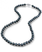 14K Gold 5.0-5.5mm Japanese Akoya Black Cultured Pearl Necklace - AAA Quality, 16 Inch Choker Length