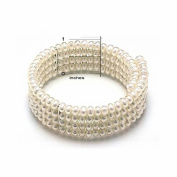 Bling Jewellery Bridal Freshwater Cultured Pearl Choker Four Row Links 6mm