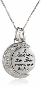 """Sterling Silver """"I Love You to The Moon and Back"""" Diamond (0.08cttw, I-J Colour, I2-I3 Clarity) Accent Moon Pendant Necklace, 46cm"""