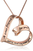 """Sterling Silver """"A True Friend Reaches For Your Hand But Touches Your Heart"""" Ribbon Heart Pendant Necklace"""
