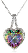 Sterling Silver and Mystic Fire Topaz Diamond-Accented Heart Pendant Necklace, 46cm