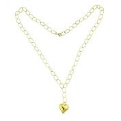 Italian 14K Gold Heart Drop Necklace 60cm