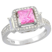 Sterling Silver Princess cut Pink Topaz Ring CZ Accents Rhodium Finish, 1.1cm wide, sizes 6 - 9