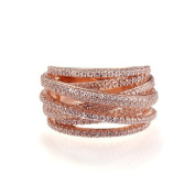 Rose Gold Plated Sterling Silver Top Quality Fashion Ring Intertwined Design, 13.5mm Height with CZ
