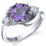 3 Stone Design 1.75 carats Amethyst Ring in Sterling Silver Rhodium Nickel Finish Size 5 to 9
