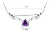 Fashion White Rhodium Plated Heart Purple Synthetic Stone Angel Wings Pendant with Free 46cm Necklace Chain