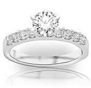 IGI Certified 1 Carat Round Brilliant Cut / Shape 14K White Gold Classic Side Stone Diamond Engagement Ring (H-I Colour, SI1-SI2 Clarity, 1.2 cts) - White Face Up No Visible Inclusions 1/2 ct centre stone