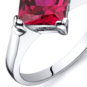 Created Ruby Engagement Ring Sterling Silver 2.25 Carats Sizes 5 to 9
