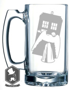 Dr Who Angels Tardis Inspired 740ml Hand-made Etched Beer Mug Glass Stein