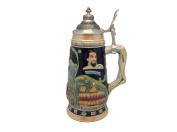 German Ludwig Castle Theme Beer Stein with Ornate Metal Lid