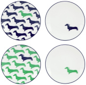 Wickford Dachshund Tidbit Plates Set of 4 by Lenox