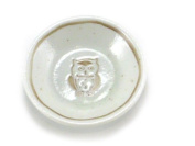 4 PCS. Japanese 8.3cm Diameter Soy Sauce Wasabi Dipping Dishes Plates Lucky OWL Design, Made in Japan