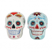 Day of Dead Sugar White & Blue Skulls Salt & Pepper Shakers Set- Skulls Collection