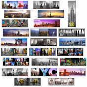 24 Various Collectible NYC New York Panoramic Photo Wide Magnets NYC 13cm x 4.1cm - Pack of 24