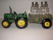 Green Tractor and Waggon Salt & Pepper Shaker Set - Farm Decor