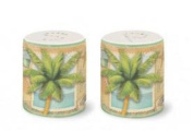 Tropical Sun and Sea Palm Design Salt & Pepper Shaker Set - 6.4cm