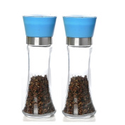Glass Pepper and Salt Grinder with Ceramic grinding mechanism, 20cm (Blue), Set of Two