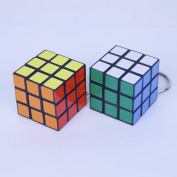 10 Pcs Keychain Rubik's Cube 3x3x3cm Puzzle Magic Game Toy Key Keychain Carrying Playingb