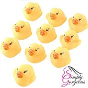 10 X Mini Yellow Bath time Squeaky Rubber Ducks