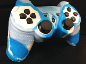 One Piece 1x Brand New High Quality Playstation PS3 Remote Controller Silicon Protective Skin Case Cover -Blue White Mix Colour