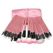 Davidsonne Professional 32 PCS Make up Cosmetic Brushes makeup brush Set Kit Eyeshadow Eyebrow Eyelash Eyeliner Lip Powder Blush Face Brush with Pink Bag Case Pouch,Hot Pink