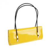 BMC Womens Synthetic Patent Leather Evening Clutch w/Black Cord Shoulder Straps