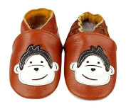 HAND MADE SOFT LEATHER BABY SHOES WITH SUEDE SOLES MONKEY 0-6 MONTHS 6-12 MONTHS 12-18 MONTHS BOY GIRL CUTE BOOTIES PRAM SHOES NEWBORN FIRST SHOES