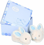 Doudou et Compagnie DC1309 Early Learning 'Lapin Bonbon'(Soft Rabbit) Slippers with Box Blue