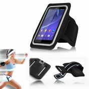 New InventCase® BLACK Sports / Gym / Jogging Armband Case Cover Sleeve Pocket Pouch for Sony Xperia Z1 / Z1 Compact (Size