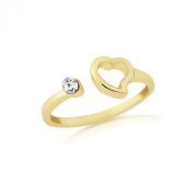 Gold Toe ring with heart and diamante stone - adjustable with gift bag