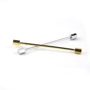 GoodBZ Collar Pin, 2PS Men's Tone Hexagonal Ended Bar Collar Pin,Gold and Silver
