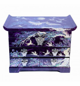Large purple jewellery box, luxury gift, handicraft from Korean. Storage for rings. Integrated mirror. natural mother of pearl