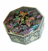 Small luxury jewellery box with original shapes and scenes of natural mother of pearl. Creative Asian Craft, butterfly design