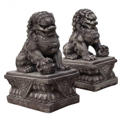 Thai FOO dog statue - chinese guardian Lion on pedestal, sandstone, grey,