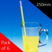 250mm One Way Drinking Straws - Pack of 6