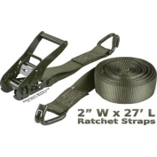 5.1cm x 8.2m Army Green 4540kg. Ratchet Straps with J-Hook Ends
