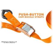300cm Orange Motorcycle & ATV Cam Buckle Tie-down strap set