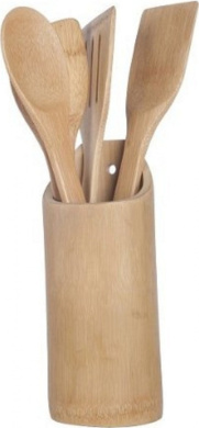 NEW BAMBOO WOODEN 5 PIECE KITCHEN UTENSIL SPATULA SET COOKING SALAD SPOONS
