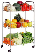 3 TIER CHROME FRUIT VEGETABLE RACK WHEELS STORAGE STAND CART TROLLEY KITCHEN