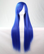 Womens/Ladies 80cm NAVY BLUE Colour Long STRAIGHT Cosplay/Costume/Anime/Party/Bangs Full Sexy Wig