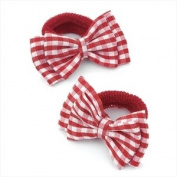 2 x Girls Red & White Gingham Bow Motif Hair Bobbles/ Elastics/ Ponios