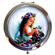 Silver Finish Round BABY ANGEL with flowers Handbag Compact Mirror Great Gifts Idea for Auntie Aunty Birthday Christmas Presents Mothers Day Gift