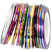 10 x Colourful 20m Rolls Nail Art Tips Striping Tape Line Sticker DIY Decoration