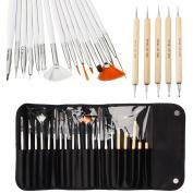 20pcs Nail Art Designing Painting Dotting Detailing Pen Brushes Bundle Tool Kit